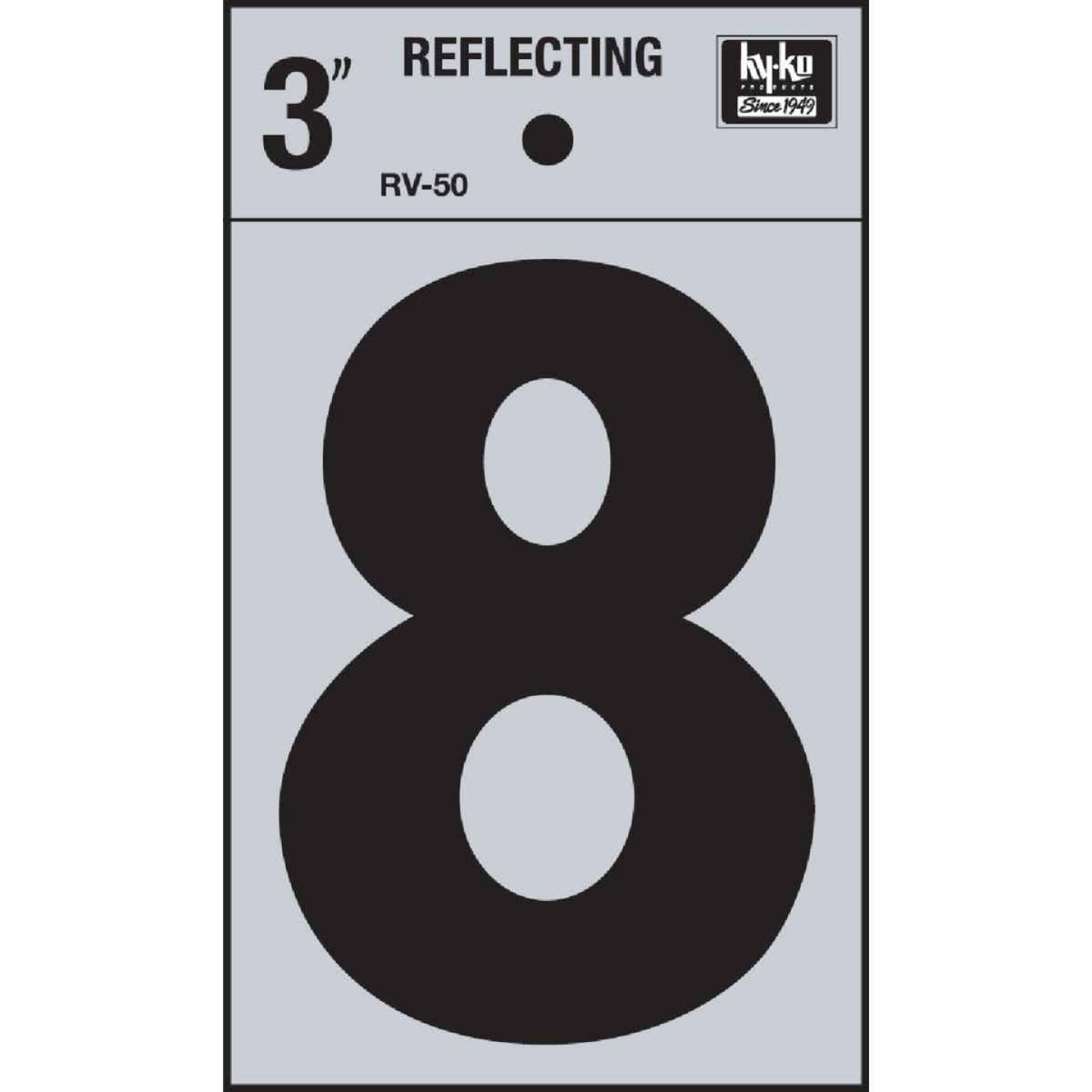 Hy-Ko Vinyl 3 In. Reflective Adhesive Number Eight Image 1