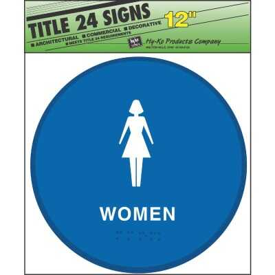 Hy-Ko Plastic Restroom Sign, Women