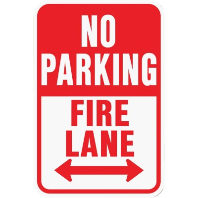 Hy-Ko Heavy-Duty Aluminum Sign, No Parking Fire Lane