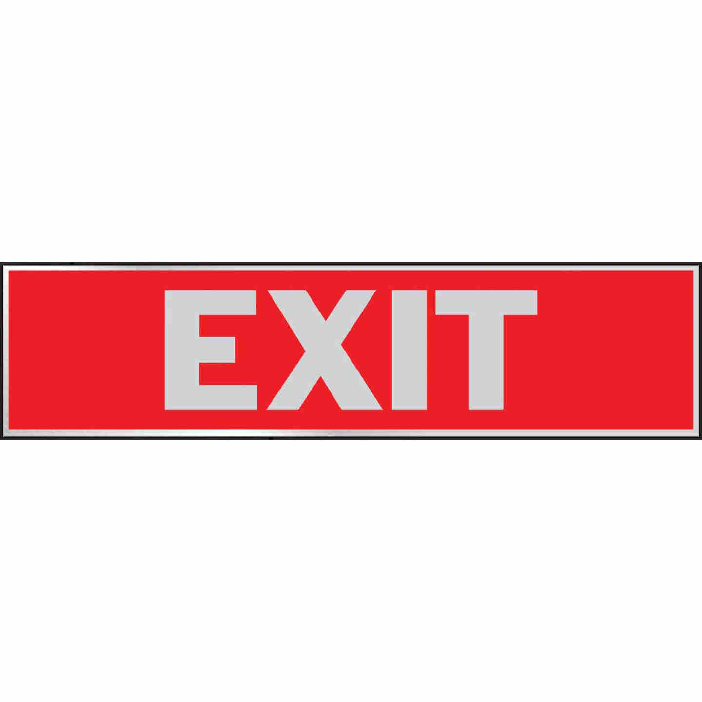 Hy-Ko Brushed Aluminum Sign, Exit Image 1