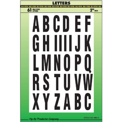 Hy-Ko Self-Adhesive Polyester 2 In. Black Letter Set