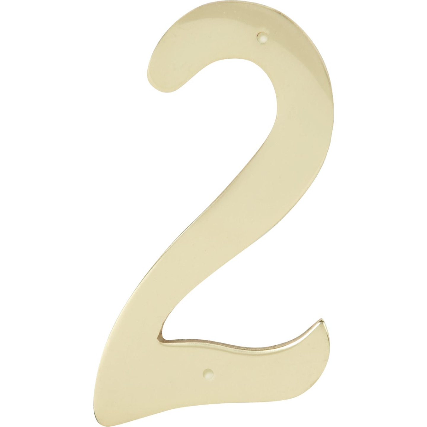 Hy-Ko 4 In. Polished Brass House Number Two Image 1