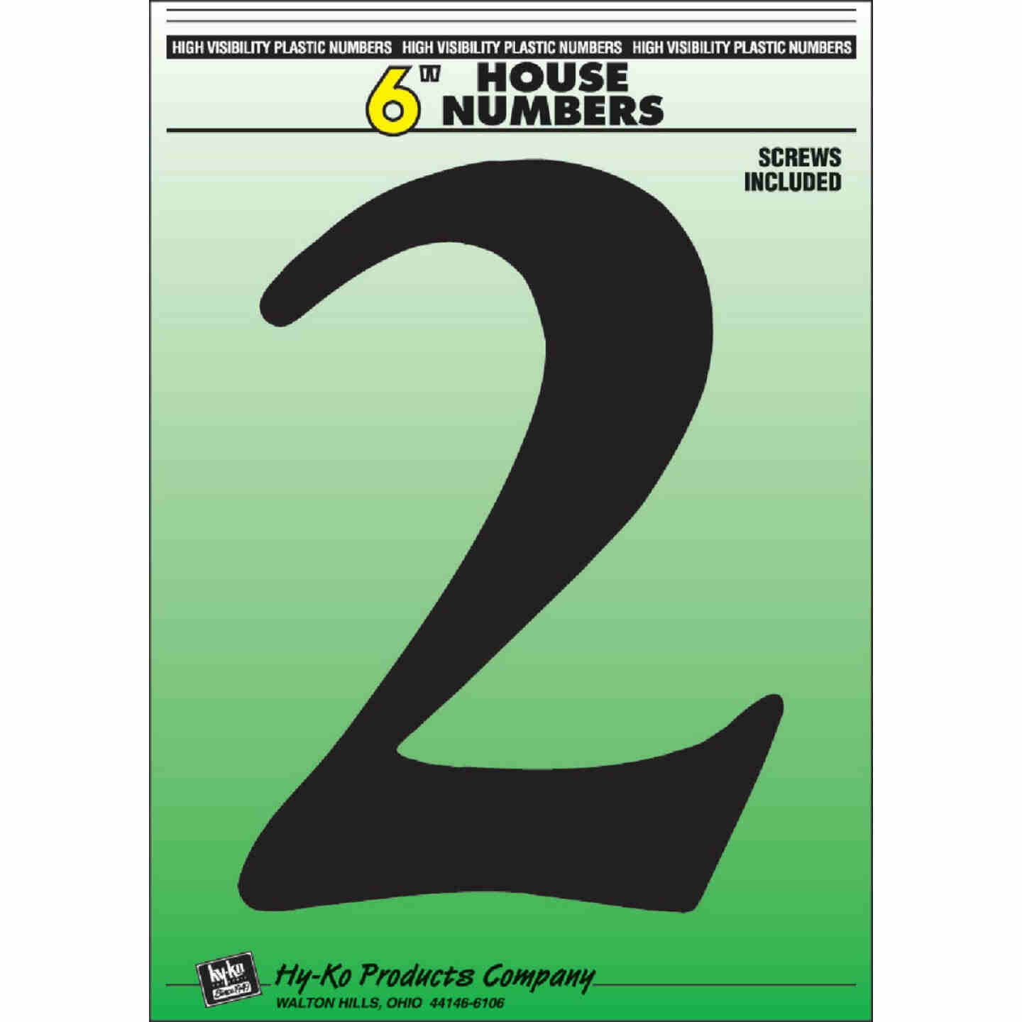 Hy-Ko 6 In. Black Gloss House Number Two Image 1