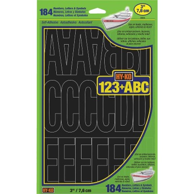 Hy-Ko 3 In. Black Vinyl Letters, Numbers & Symbols (184 Count)
