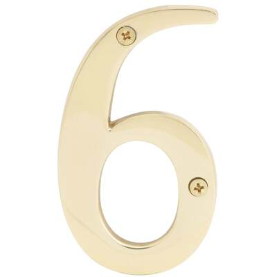 Hy-Ko 4 In. Polished Brass House Number Six