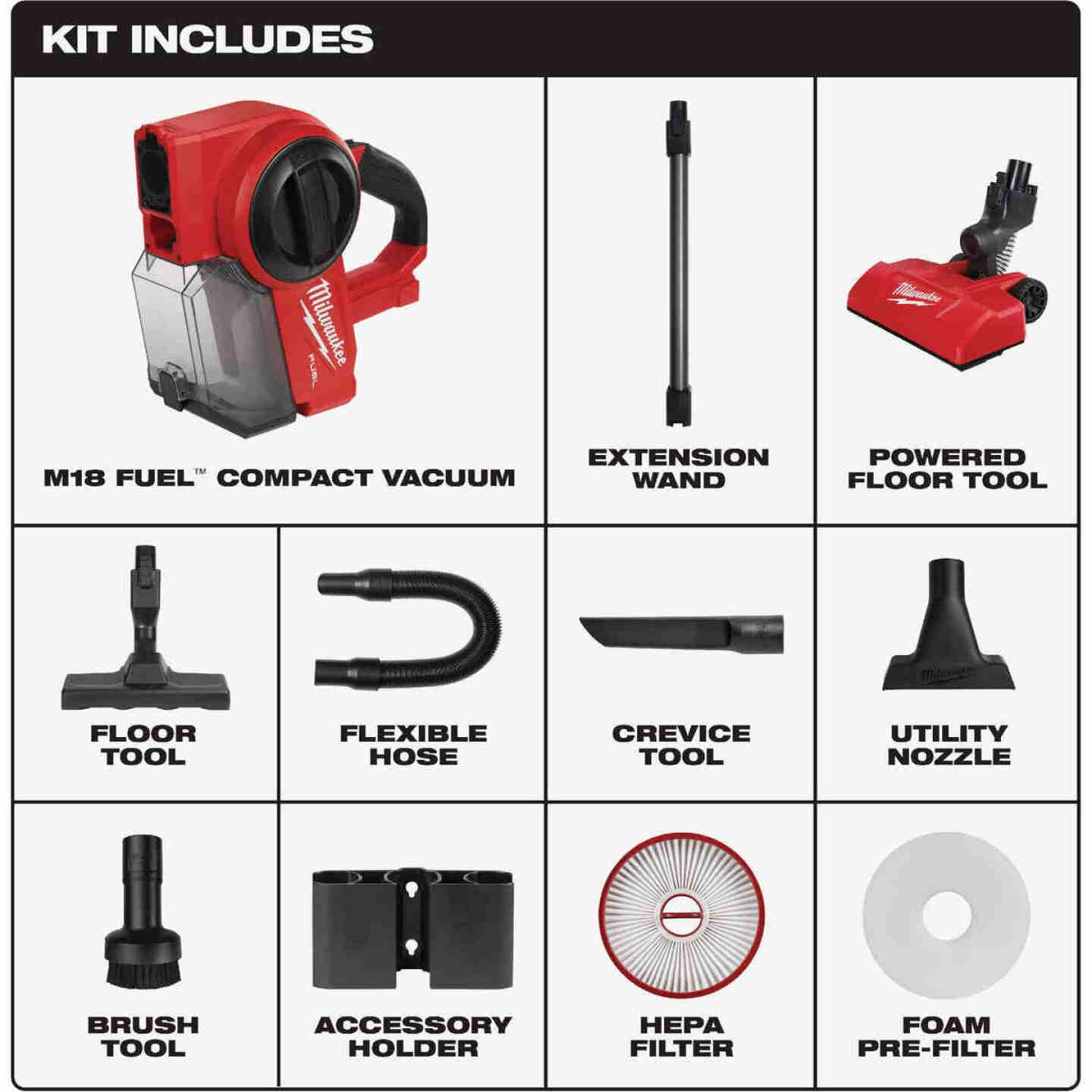 Milwaukee M18 FUEL 18 Volt Lithium-Ion Brushless Cordless 0.25 Gal Compact Wet/Dry Vacuum (Bare Tool) Image 3