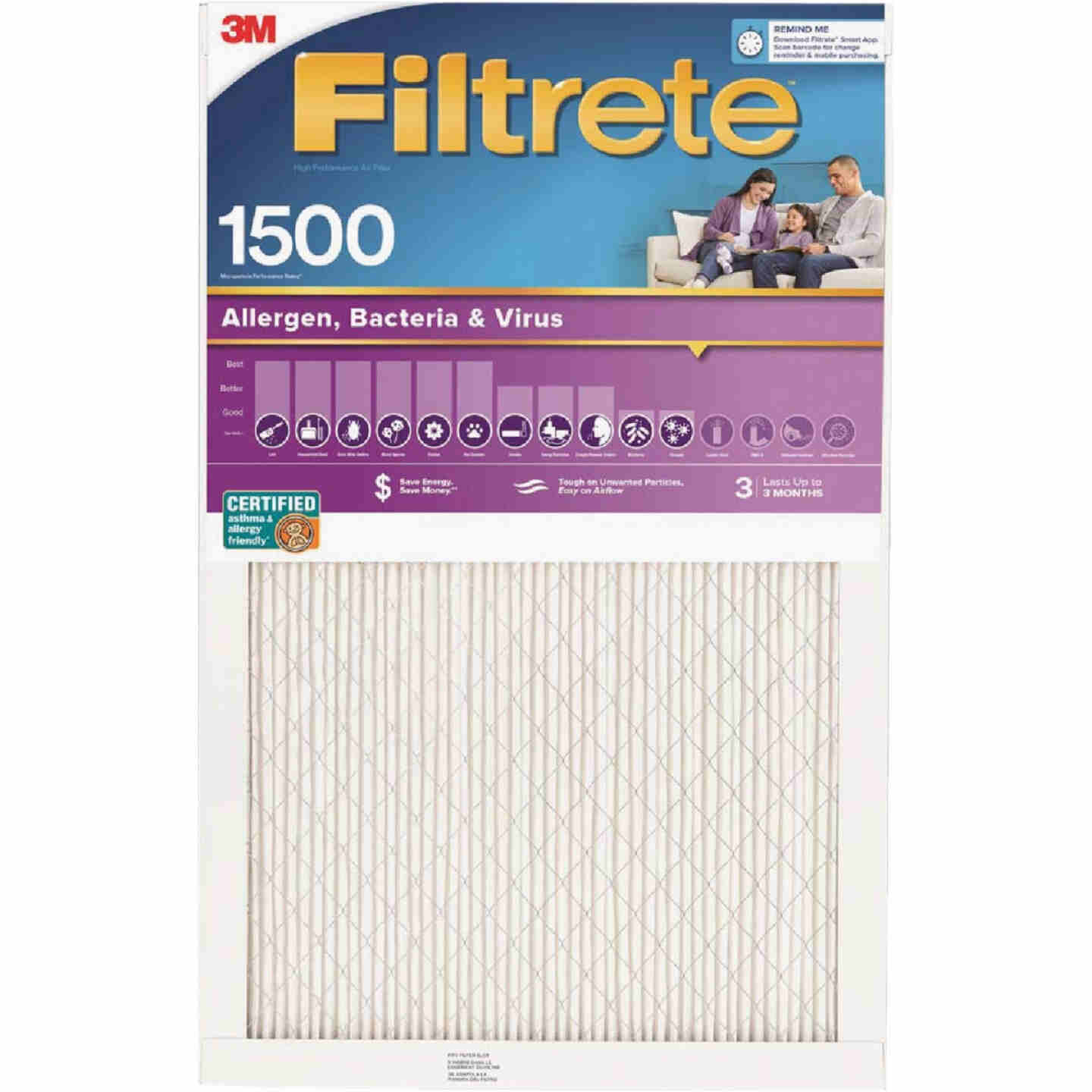 3M Filtrete 20 In. x 30 In. x 1 In. Ultra Allergen Healthy Living 1550 MPR Furnace Filter Image 1