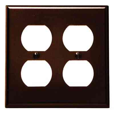 Leviton 2-Gang Smooth Plastic Outlet Wall Plate, Brown