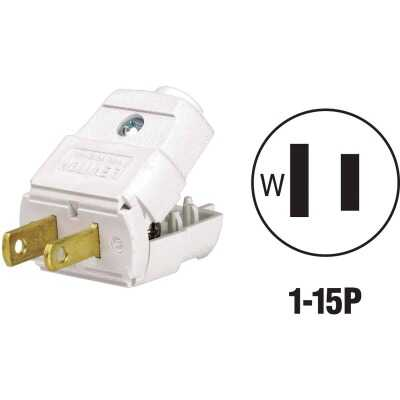 Leviton 15A 125V 2-Wire 2-Pole Hinged Cord Plug, White