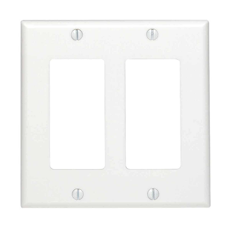 Leviton Decora 2-Gang Smooth Plastic Rocker Decorator Wall Plate, White Image 1