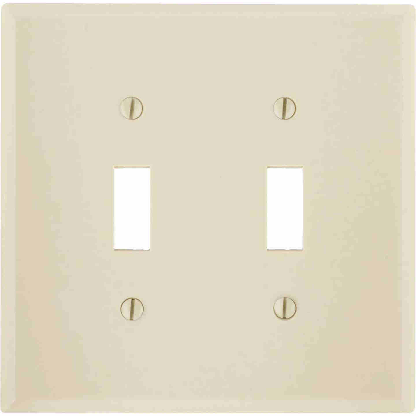 Leviton 2-Gang Smooth Plastic Mid-Way Toggle Switch Wall Plate, Ivory Image 1