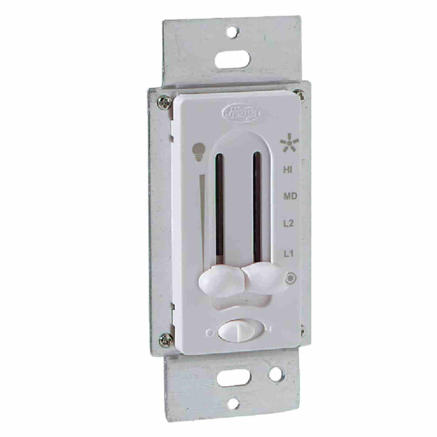 Hunter White 4-Speed/Full Range Dimmer Dual Slide Fan Control Switch Image 1