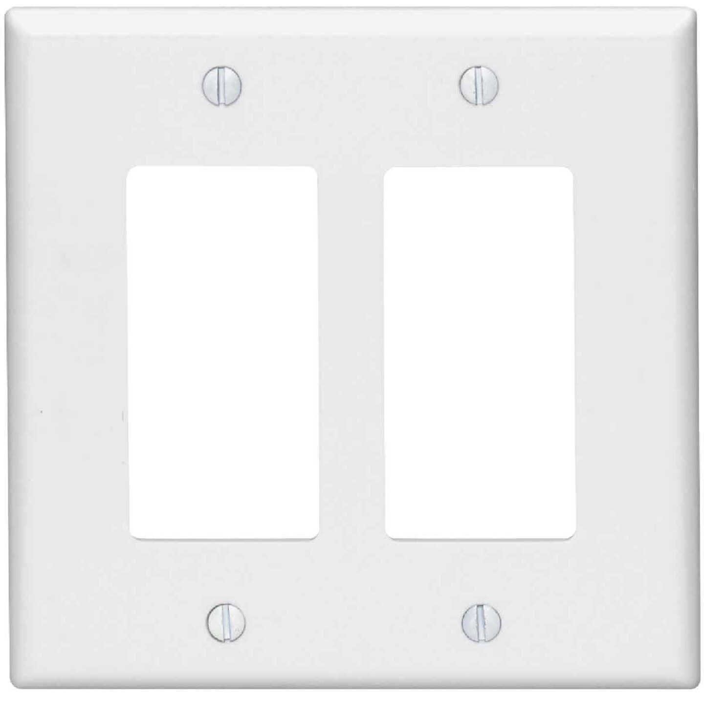 Leviton Mid-Way 2-Gang Smooth Plastic Rocker Decorator Wall Plate, White Image 1