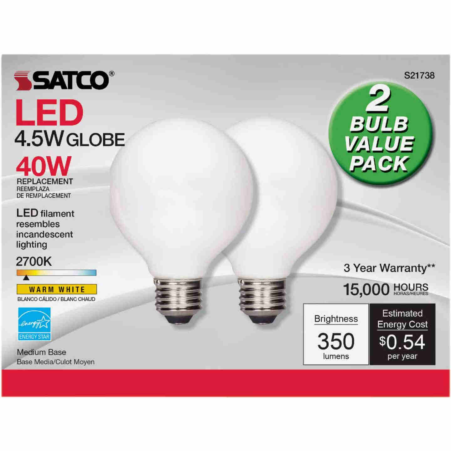 Satco Nuvo 40W Equivalent Warm White G25 Medium Frosted LED Decorative Light Bulb (2-Pack) Image 2