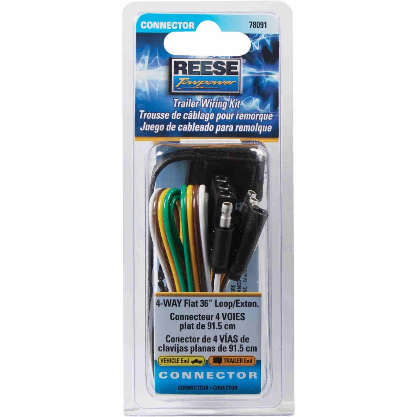 Reese Towpower 4-Flat 36 In. Loop with Ground Eyelet Vehicle/Trailer Connector Set Image 2