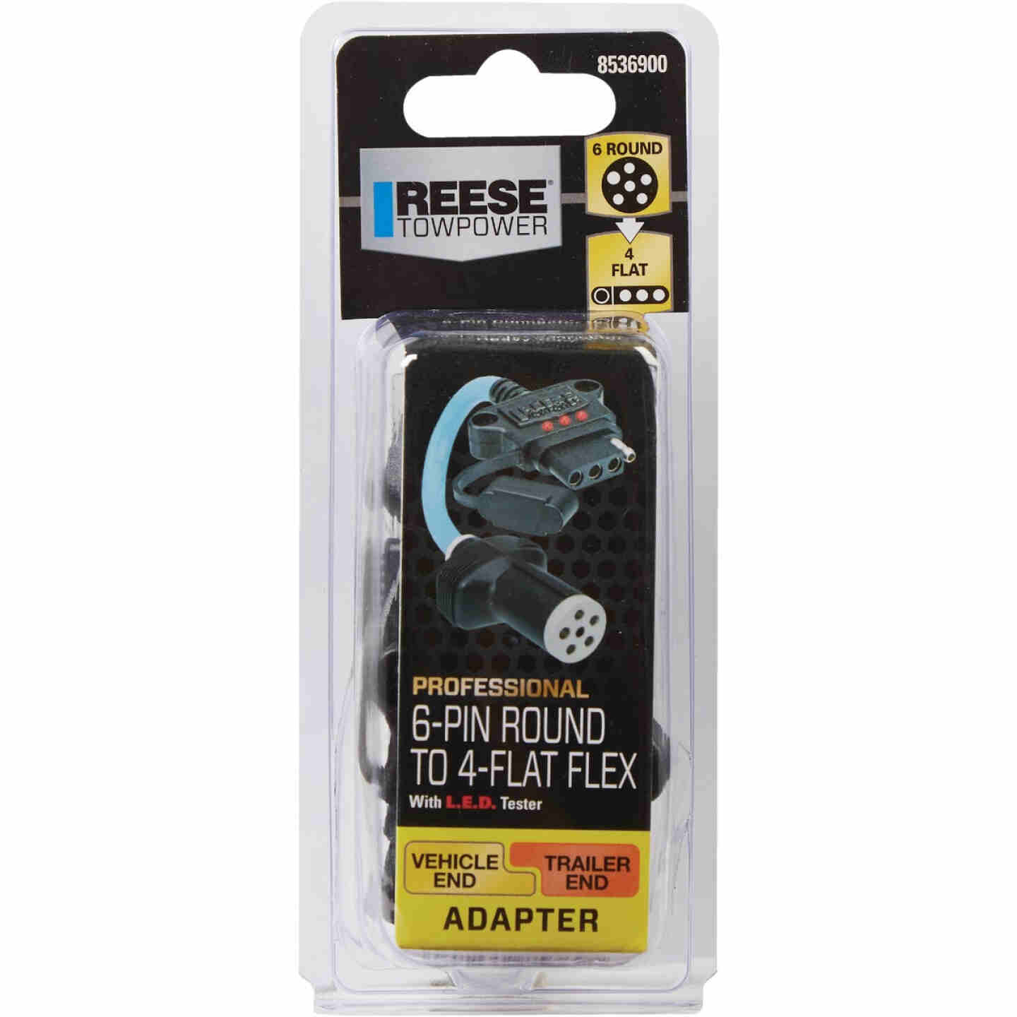 Reese Towpower Professional 6-Pin Round to 4-Flat Flex Plug-In Adapter with LED Tester Image 2