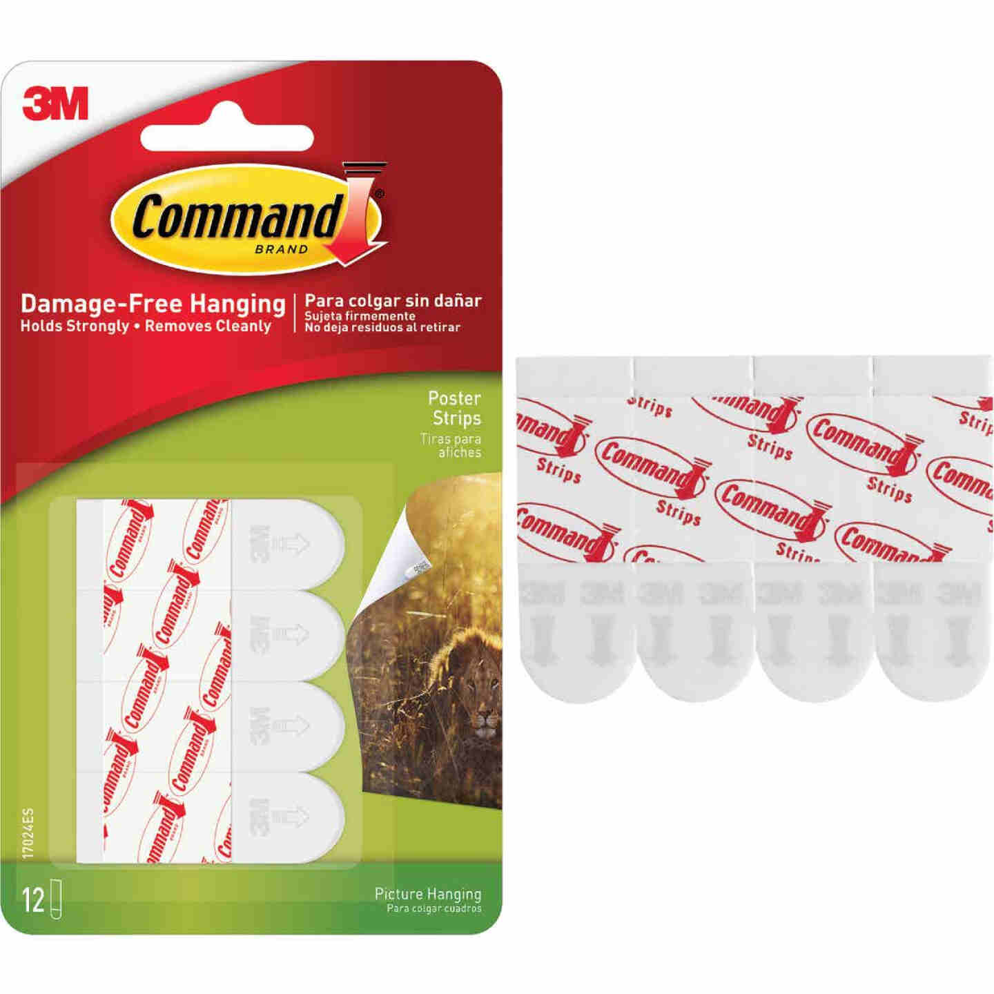 3M Command 3.87 In. x 0.23 In. 1 Lb. Capacity Removable Poster Mounting Strips (12-Pack) Image 1