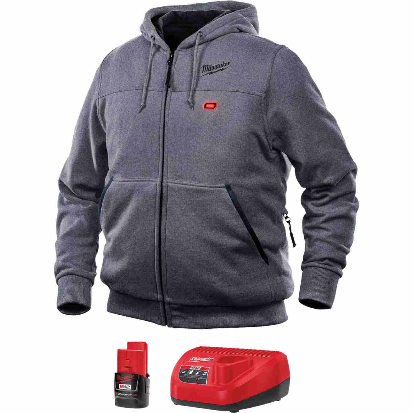 Milwaukee M12 Medium Gray Men's Heated Full Zip Hooded Sweatshirt Image 1