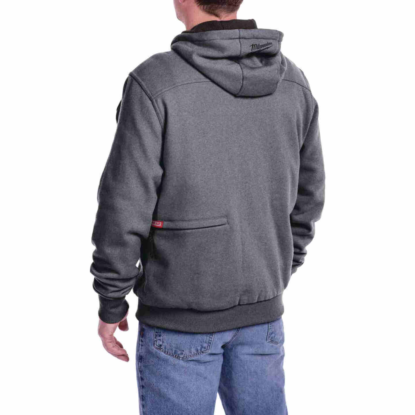 Milwaukee M12 Medium Gray Men's Heated Full Zip Hooded Sweatshirt Image 10
