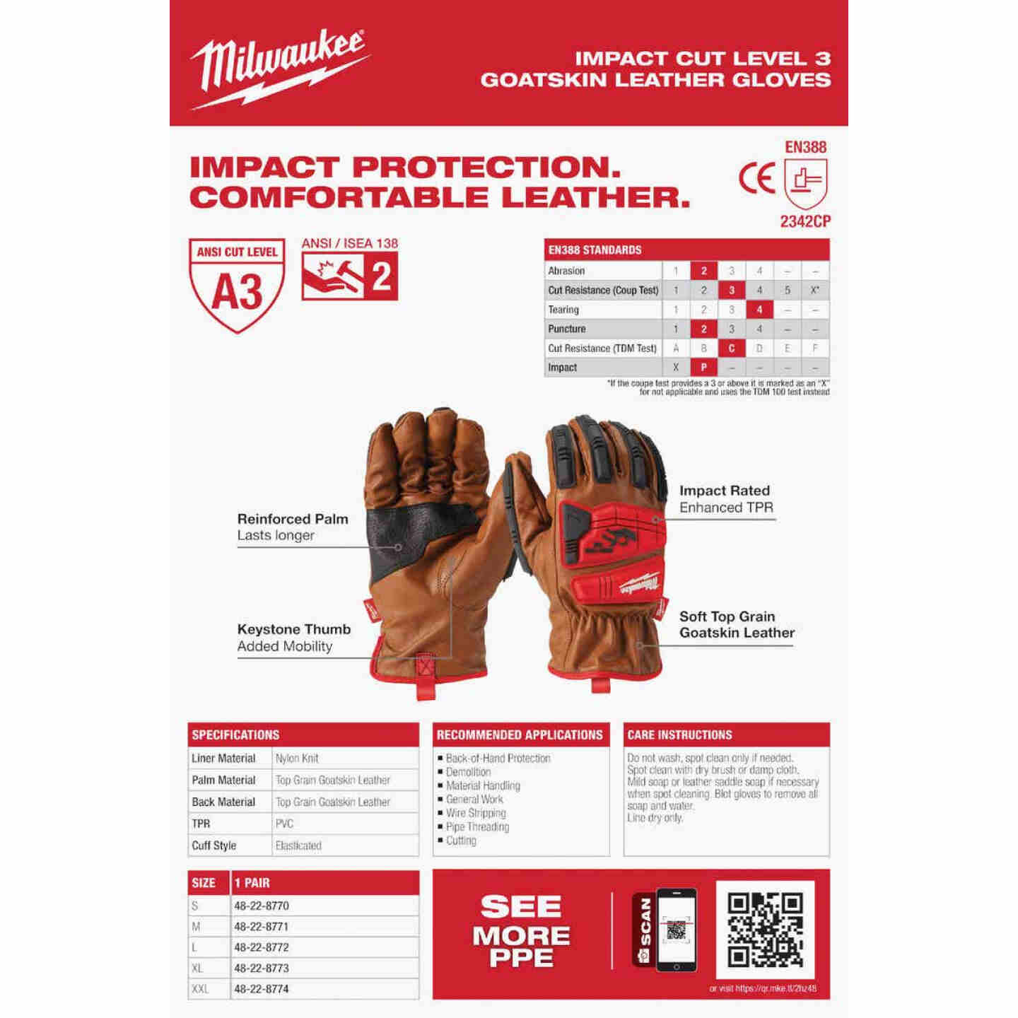 Milwaukee Impact Cut Level 3 Men's Large Goatskin Leather Work Gloves Image 5