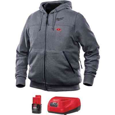 Milwaukee M12 XL Gray Men's Heated Full Zip Hooded Sweatshirt