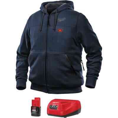 Milwaukee M12 Large Navy Blue Men's Heated Full Zip Hooded Sweatshirt