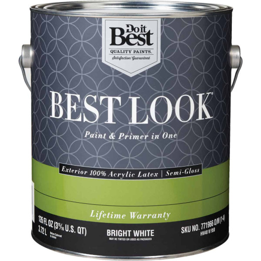 Best Look 100% Acrylic Latex Paint & Primer In One Semi-Gloss Exterior House Paint, Bright White, 1 Gal.