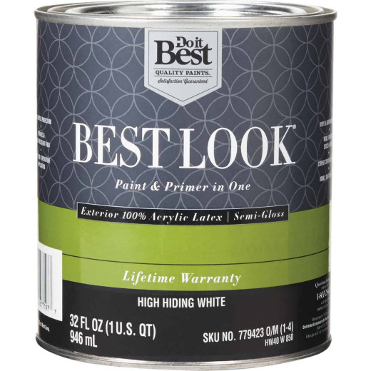 Best Look 100% Acrylic Latex Paint & Primer In One Semi-Gloss Exterior House Paint, High Hiding White, 1 Qt.
