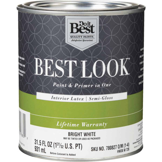 Best Look Latex Paint & Primer In One Semi-Gloss Interior Wall Paint, Bright White, 1 Qt.