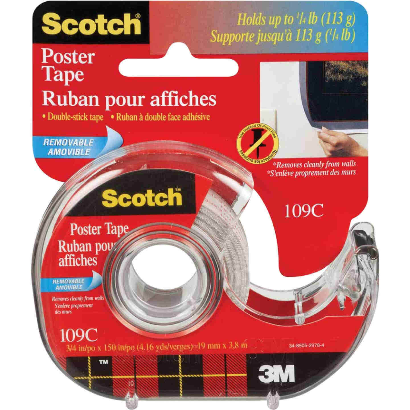 3M Scotch 3/4 In. W. x 150 In. L. Clear Removable Double-Sided Poster Mounting Tape Image 1